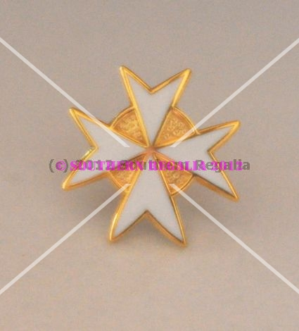Knights Templar Malta Degree White Cross Gold Plated Lapel Pin