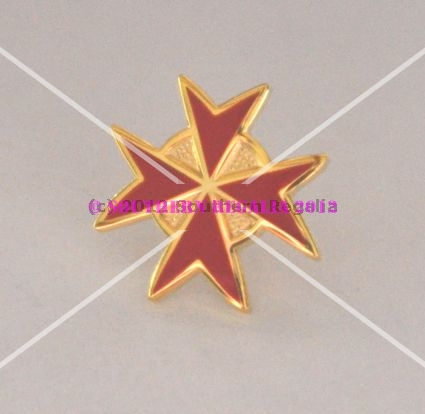 Knights Templar Red Cross Gold Plated Lapel Pin
