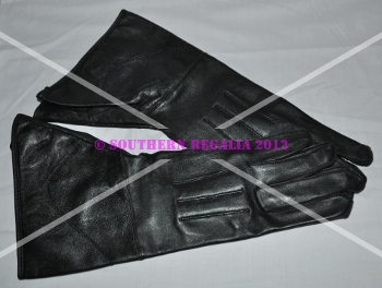 Knights - Black Leather Gauntlets - Plain (Medium)