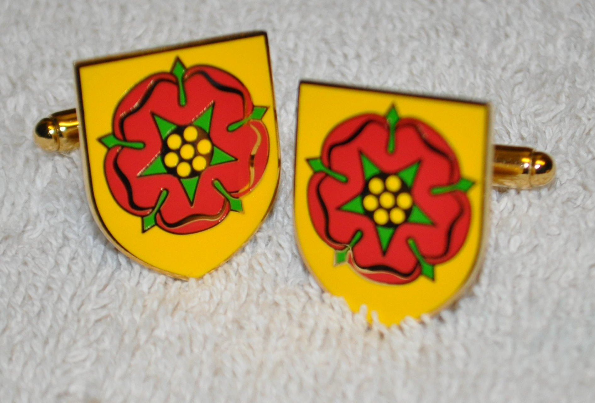 Lancashire Flag Gold Plated Enamel Cufflinks