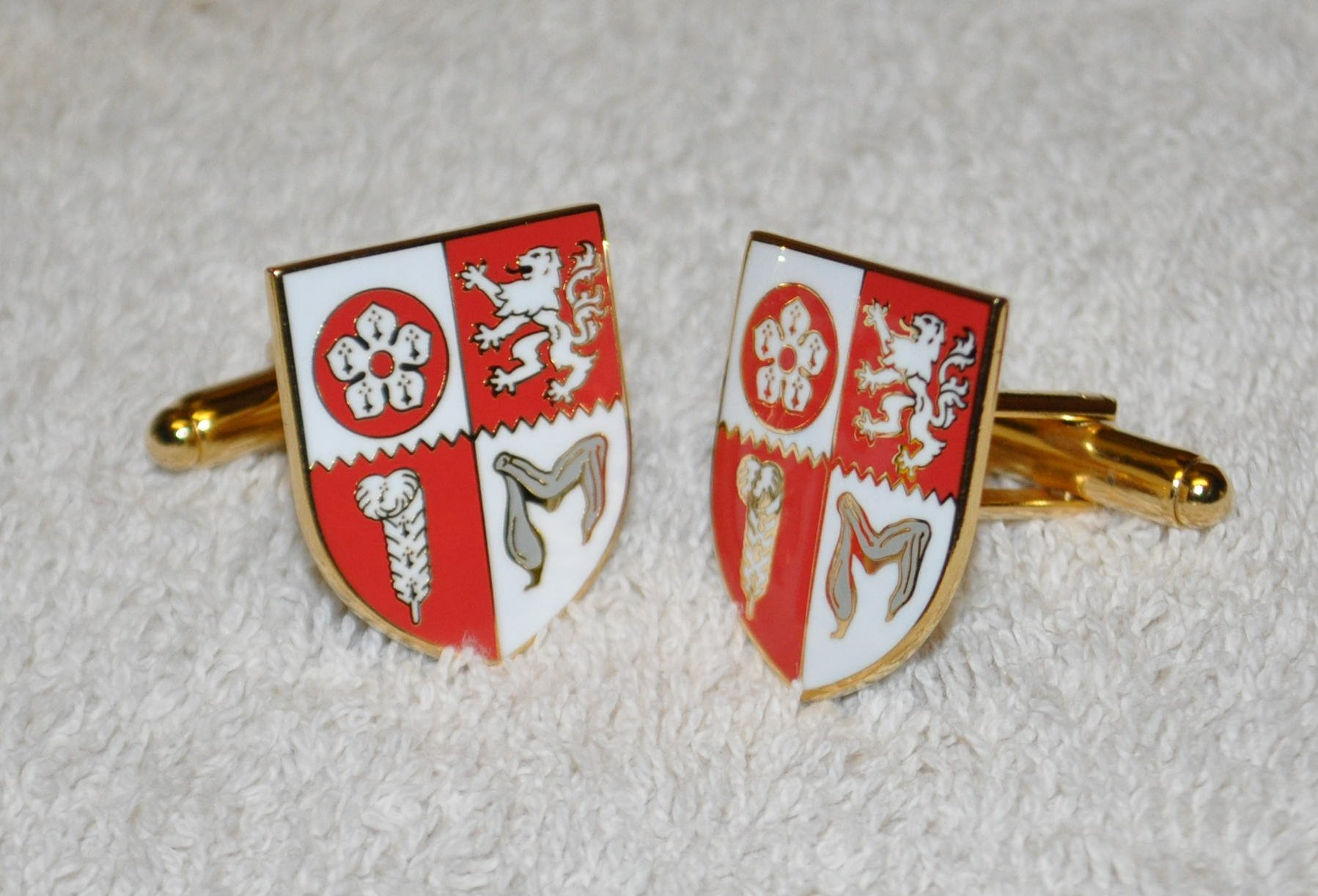 Leicestershire Flag Gold Plated Enamel Cufflinks