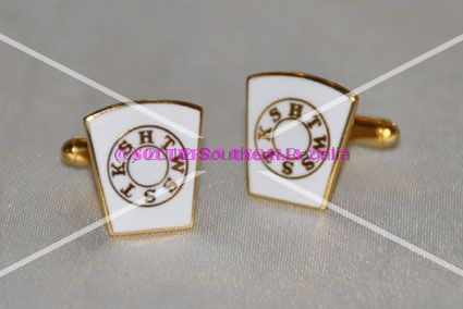 Mark Keystone White Enameled Gold Plated Cufflinks