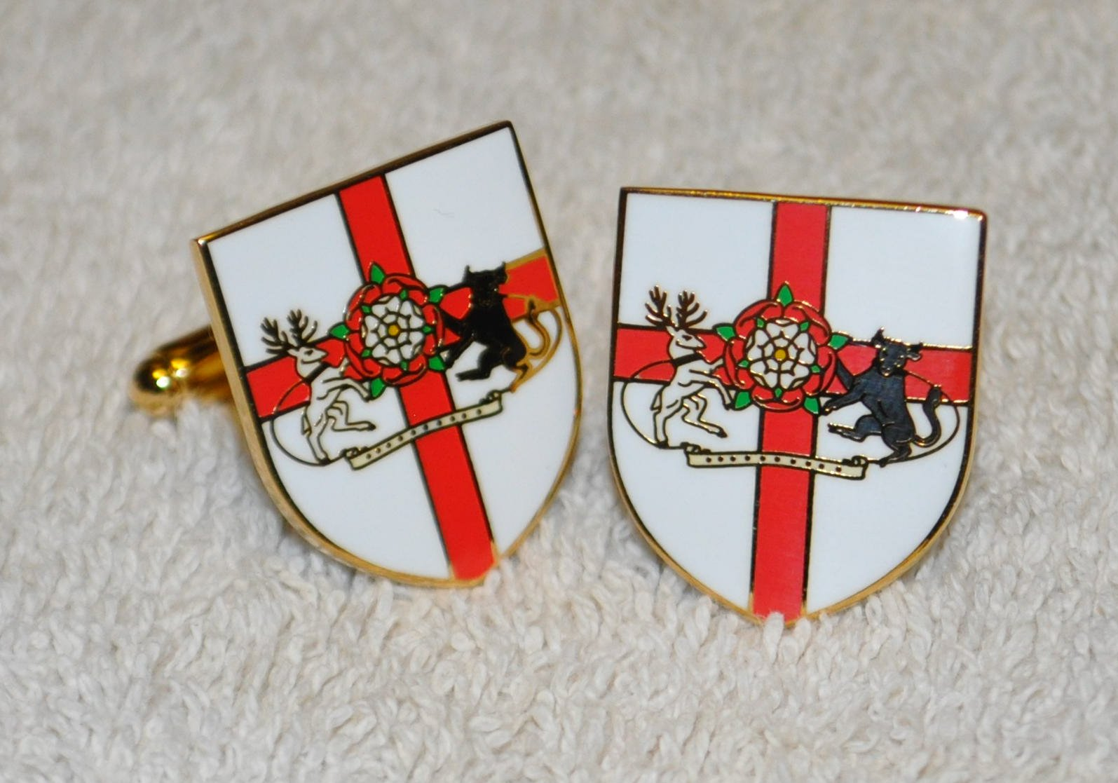 Northamptonshire Flag Gold Plated Enamel Cufflinks