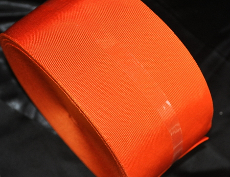 Orange Ribbon - Plain - 100mm (per meter)
