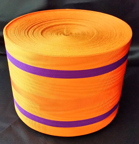 Orange Ribbon with 2 Thick Purple Bands - watermarked - 100mm (per meter)