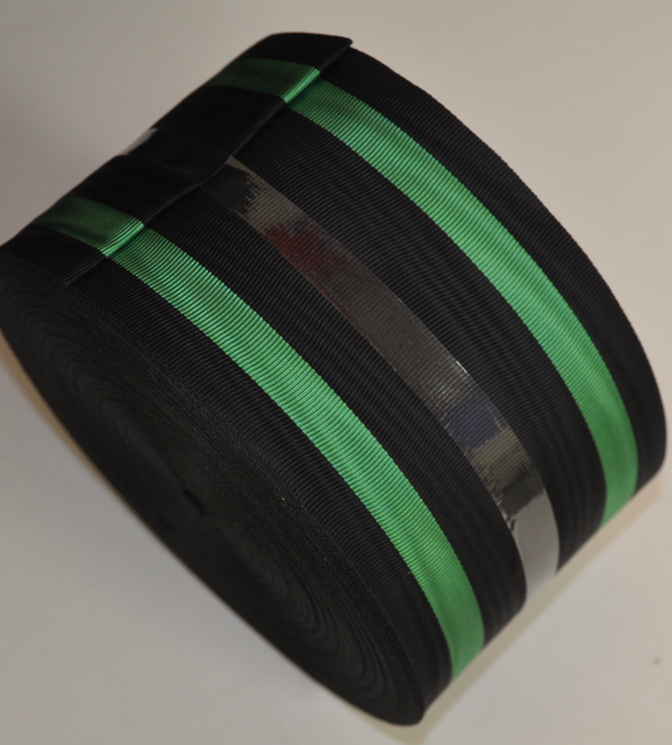 Black Ribbon with 2 Thick Green Bands - watermarked - 75mm (per meter)