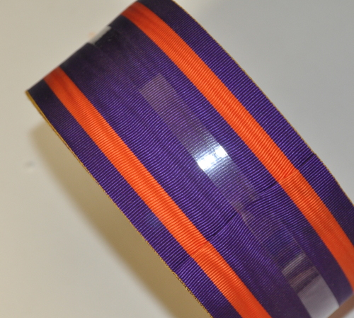 Purple Ribbon with 2 Thick Orange Bands - watermarked - 75mm (per meter)