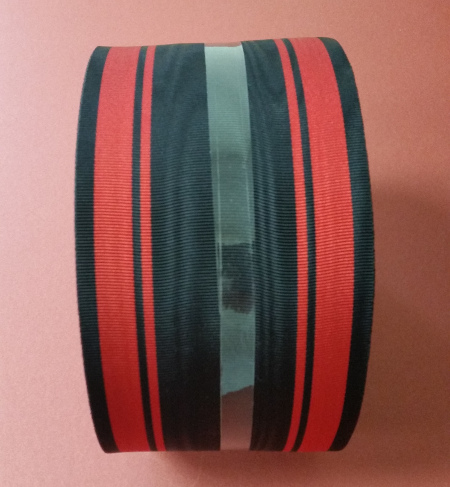 Black Ribbon with 4 Thick & Thin Red Bands - watermarked - 100mm (per meter)