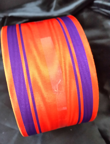 Orange Ribbon with 4 Purple Thick and Thin Bands - 100mm (per meter)
