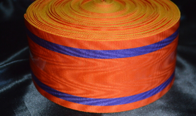 Orange Ribbon with 2 Thick Purple Bands - watermarked - 75mm (per meter)