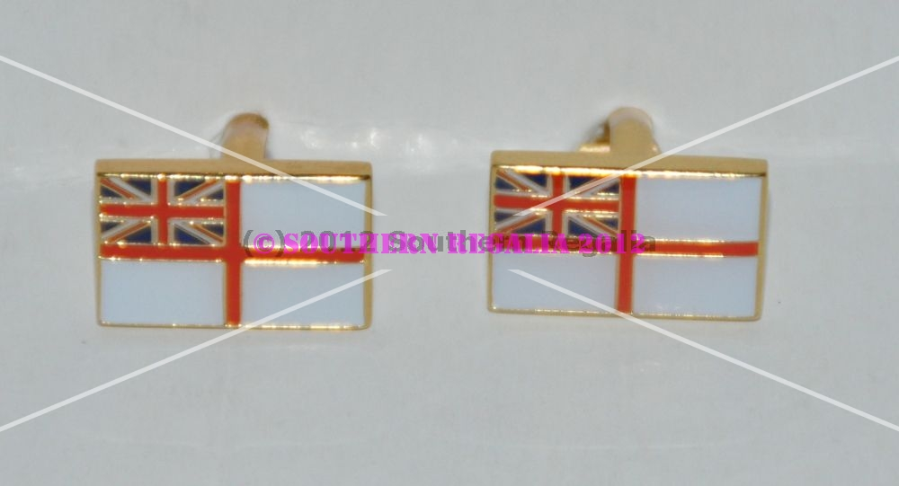 Royal Navy White Ensign Gold Plated Enamel Cufflinks