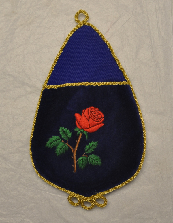 Rose Croix Alms Bag with Embroidered Rose