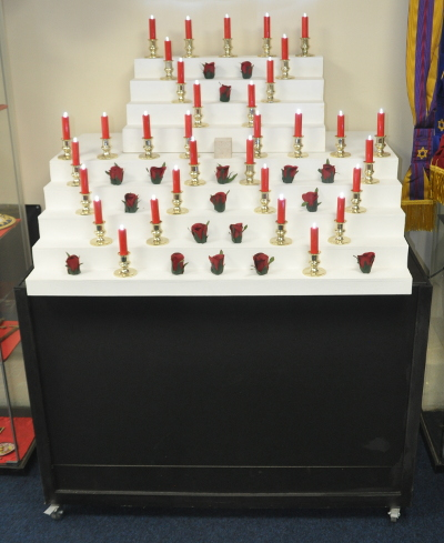 Rose Croix Red Room Altar Block with Electric Candles