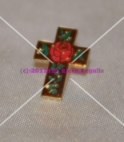 Rose Croix Cross and Roses Gold Plated Lapel Pin
