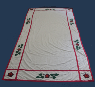 Rose Croix Red Room Floorcloth - Ladder Border