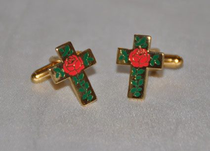 Rose Croix Gold Plated & Enamel Cufflinks