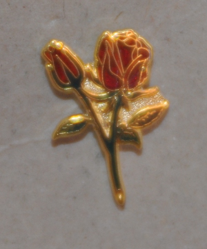 Rose Croix Double Rose Gold Plated Lapel Pin