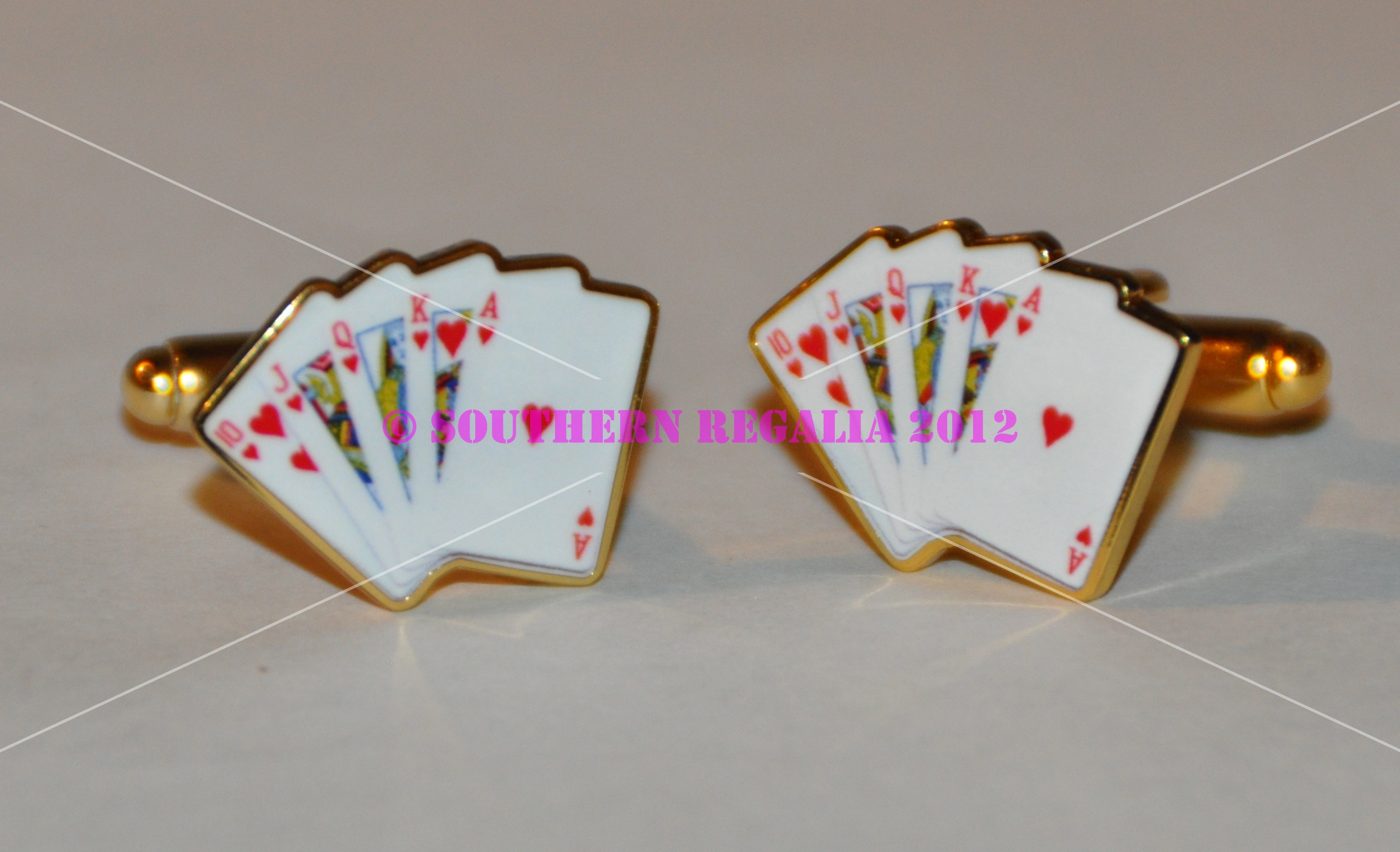 Playing Card - Royal Flush Gold Plated Cufflinks