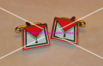 Royal Order of Scotland Apron Gold Plated & Enamel Cufflinks