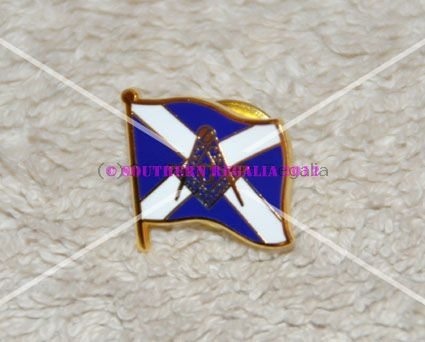 Scottish St Andrews Cross Masonic Gold Plated Lapel Pin