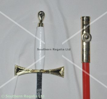 Rose Croix Medium Sword - Gilt with Red Scabbard - 750mm