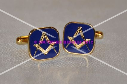 Square & Compasses on Blue Enamel Gold Plated Cufflinks