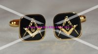 Square & Compasses [with G] Black Enamel Cufflinks