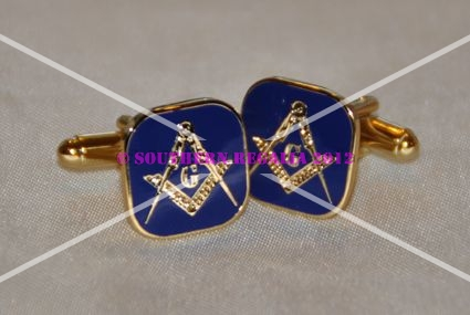 Square & Compasses [with G] Blue Enamel Cufflinks
