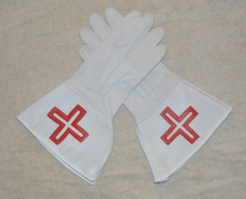 St Thomas of Acon - White Leather Gauntlets (Ex Large)