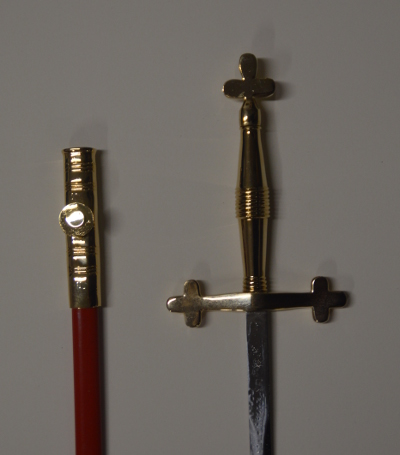 Sword - Cross Shaped Hilt Gold Plated & Red Scabbard - 900mm