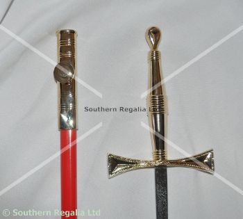 Rose Croix Standard Sword - Gilt with Red Scabbard - 900mm