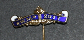 Breast Jewel Curved Top Bar with Scrolls - WM 2017 - Blue Enamel