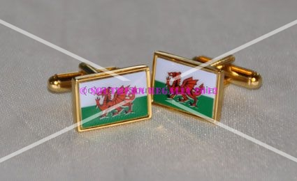 Welsh Dragon Rectangular Flag Cufflinks