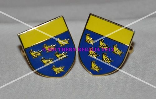 West Sussex Flag Gold Plated Enamel Cufflinks