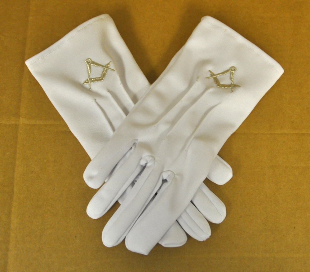 White Gloves - Silver Square & Compasses Motif (Small)