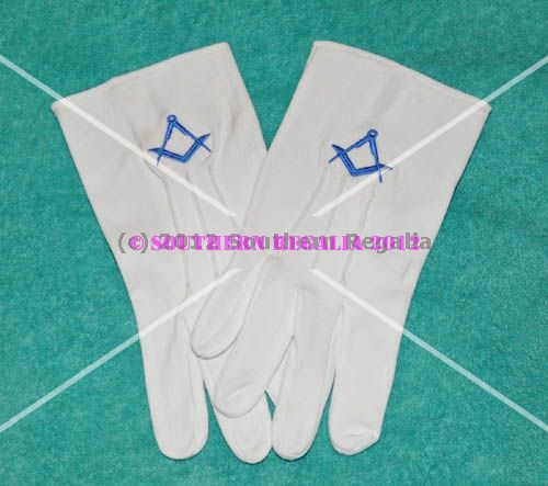 White Gloves - Blue Square & Compasses Motif (Small)